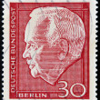 A stamp printed in Germany shows Heinrich Lbke Karl, was President of the Federal Republic of Germany - Foto Stock
