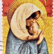 A Christmas stamp printed in Australia shows Madonna with child - Foto Stock