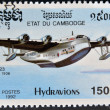 Stamp printed in Cambodia dedicated to seaplanes shows short 1936 S-23 - Foto Stock