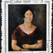 Stock Photo: Stamp printed in Cubdedicated to paintings Museum of city Havana, shows painting of V. Escobar - Portrait of MariGalarraga