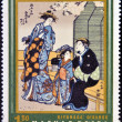 A stamp printed in Hungary shows Courtesans by Kiyonaga — Stock Photo
