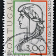A stamp printed in Portugal shows allegory of of democracy, the 1976 Constitution — Stock Photo