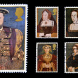 Stamps printed in Great Britain dedicated to Great Tudor, shows King Henry VIII and his six wives — Stock Photo #14696215