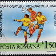 A stamp printed in Romania dedicated to Soccer World Championship of Italy 1990 — Stock Photo