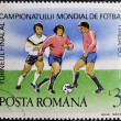 Foto Stock: Stamp printed in Romanidedicated to Soccer World Championship of Italy 1990