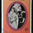 Stock Photo: Stamp printed in St. Vincent shows portrait of Elizabeth II and Duke of Luxembourg, 40th anniversary of Queen Elizabeth II and 150th anniversary of Queen Victoria