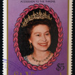Stock Photo: Stamp printed in St. Vincent shows portrait of Queen Elizabeth II, 40th anniversary of Queen Elizabeth II and 150th anniversary of Queen Victoria