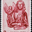 A stamp printed in Switzerland shows Wood Carvings from St. Oswald's Church, Zug St. Matthew — Stock Photo