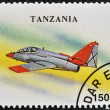 A stamp printed in Tanzania shows training aircraft C-101 &amp;quot;Aviojet&amp;quot; - Foto Stock