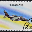 A stamp printed in Tanzania shows Low - Flying, attack aircraft &amp;quot;alfa jet&amp;quot; - Foto Stock
