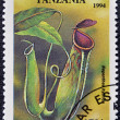 A stamp printed in Tanzania dedicated to tropical flowers, shows nephenthes hybrid - Foto Stock