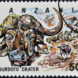 Stamp printed in Tanzania dedicated to Ngurdoto crater, shows buffalo - Foto Stock