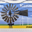 A stamp printed in USA dedicated to Kansas - Foto Stock