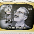 A stamp printed in USA Celebrates Classic TV shows Groucho Marx, you bet your life - Foto Stock