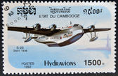 Stamp printed in Cambodia dedicated to seaplanes shows short 1936 S-23 — Stock Photo