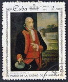 A stamp printed in Cuba dedicated to paintings Museum of city Havana, shows painting of J. Del Rio - Portrait of Luis de las Casas — Foto Stock