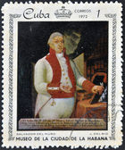 A stamp printed in Cuba dedicated to paintings Museum of city Havana, shows painting of J. Del Rio - Portrait of Salvador del Muro — Stock Photo