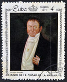 A stamp printed in Cuba dedicated to paintings Museum of city Havana, shows painting of V. Escobar - Portrait of Tomas Gamba — Stock Photo