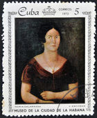 A stamp printed in Cuba dedicated to paintings Museum of city Havana, shows painting of V. Escobar - Portrait of Maria Galarraga — Stock Photo