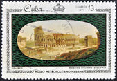 Stamp printed in Cuba dedicated to works from the Metropolitan Museum of Havana, shows Coliseum, Italian tile, XIX century — Stock Photo