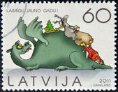 A stamp printed in Latvia dedicated to Christmas day — Stock Photo
