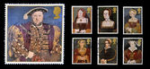 Stamps printed in Great Britain dedicated to The Great Tudor, shows King Henry VIII and his six wives — Stock Photo