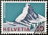 A stamp printed in Switzerland shows Matterhorn, Swiss Alps — Foto Stock