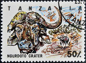 Stamp printed in Tanzania dedicated to Ngurdoto crater, shows buffalo — Stock Photo