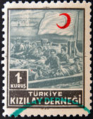 Stamp printed in Turkey shows red crescent — Stock Photo