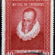 Stamp printed in Chile shows Miguel de Cervantes, author of Don Quixote — Stockfoto #15466085