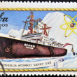 Stock Photo: Stamp printed in Cubshows atomic icebreaker Lenin, S. XX
