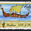 A stamp printed in Cuba shows viking boat, Drakkar — Stock Photo