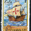 A stamp printed in Cuba shows spanish boat carabella, S. XV — Stock Photo