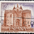 Stamp printed in Spain ,shows facade of Bisagrdoor on Toledo — Stock fotografie #15466239