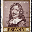 A stamp printed in Spain shows Self portrait by Ribera — Stock Photo