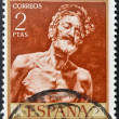 Stamp printed in Spain shows painting of Old Man in the Sun by fortuny — Stock Photo