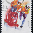 A stamp printed in Latvia dedicated to Two-man bobsled — Stock Photo