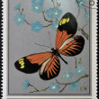 Stock Photo: Stamp printed in Oman, shows Butterfly, Heliconius Melpomene-aglaope