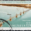 Stock Photo: Stamp printed in Venezuelshows inauguration of bridge over Lake Maracaibo