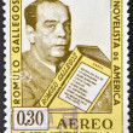 Постер, плакат: A stamp printed in Venezuela showing a Romulo Gallegos portrait teacher and novelist