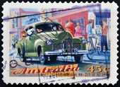 A Stamp printed in Australia dedicated to classic cars, shows the GMH Holden 48-215 (FX) — Foto Stock
