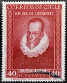 A stamp printed in Chile shows Miguel de Cervantes, author of Don Quixote — Stock Photo