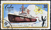 A stamp printed in Cuba shows atomic icebreaker Lenin, S. XX — Stock Photo