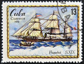 A stamp printed in Cuba shows paquebot, S. XIX — Stock Photo