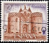 一枚邮票印在西班牙,显示 bisagra 门外墙上托莱多 — 图库照片