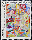 """A stamp printed in France showing the painting """"New Wind Race"""" by Lapicque — Stock Photo"""