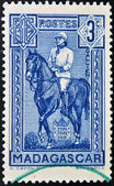 A stamp printed in France shows Joseph Simon Gallieni in horse, the governor general of Madagascar (1896-1905) — Stock Photo