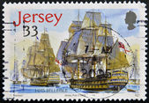 A stamp printed in Jersey shows hms Belleisle — Stock Photo
