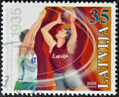 A stamp printed in Latvia dedicated to basketball — Stock Photo