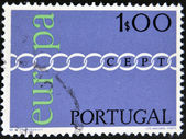 Stamp printed in Portugal shows Europa Cept — Stock Photo